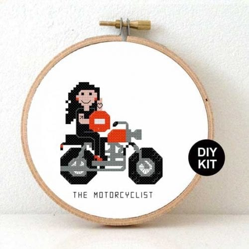 Female Motorcyclist Cross Stitch Kit