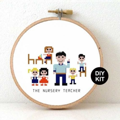 DIY gift Nursery Teacher Cross Stitch Kit