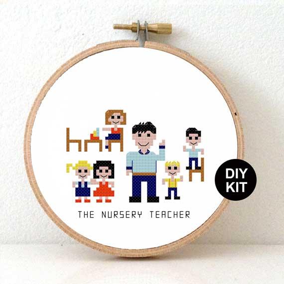 DIY gift Nursery Teacher Cross Stitch Kit