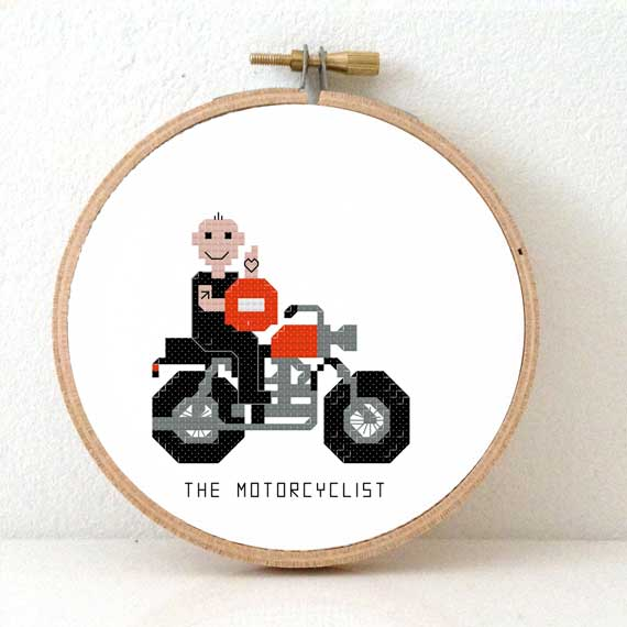 Motorcyclist cross stitch pattern