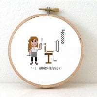 Hairdresser cross stitch pattern