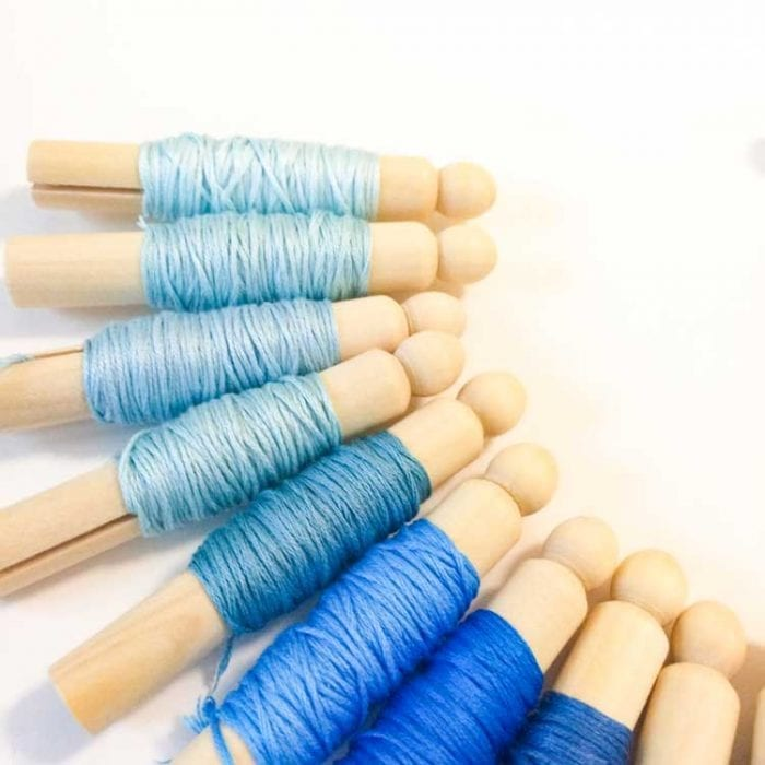 embroidery floss dolly pins