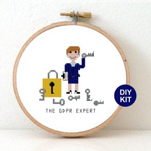 Modern cross stitch kit privacy officer gift