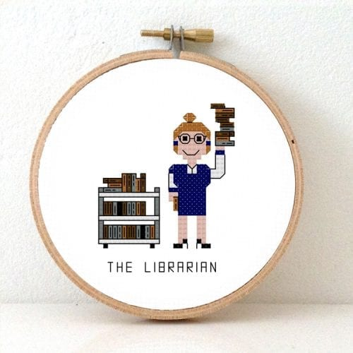 DIY Gift for Librarian cross stitch pattern