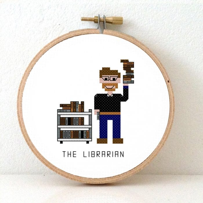 DIY Gift for male Librarian cross stitch pattern