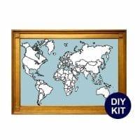 xl world map cross stitch kit