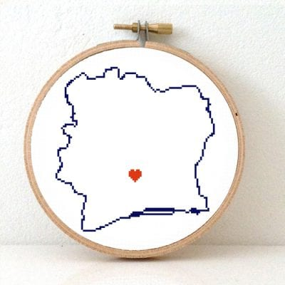 Ivory Coast map cross stitch pattern
