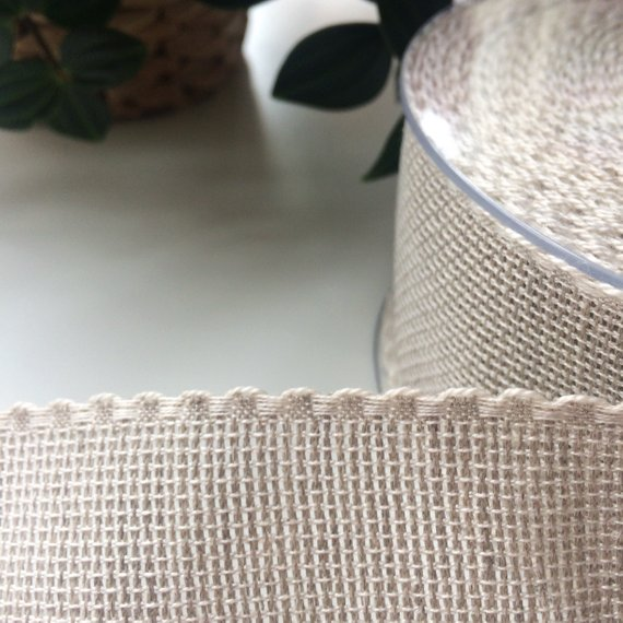 5 cm wide linen Aida ribbon