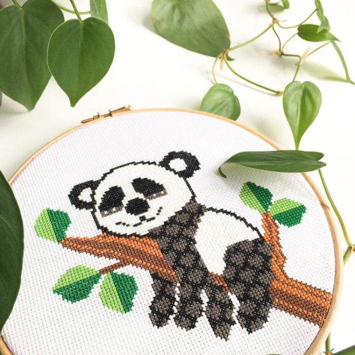 cute panda cross stitch pattern