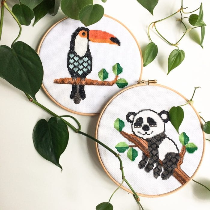 urban jungle toucan cross stitch kit panda