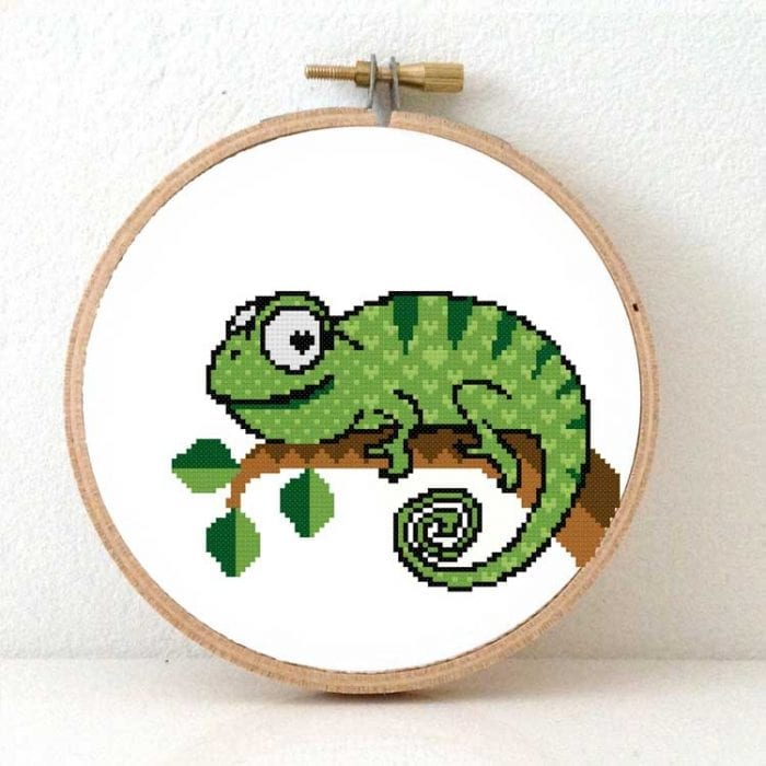 Chameleon cross stitch kit