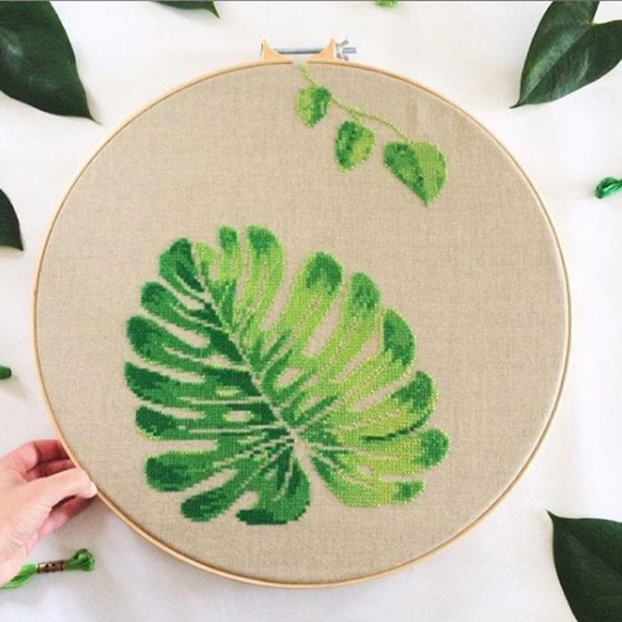 Monstera cross stitch kit botanical embroidery