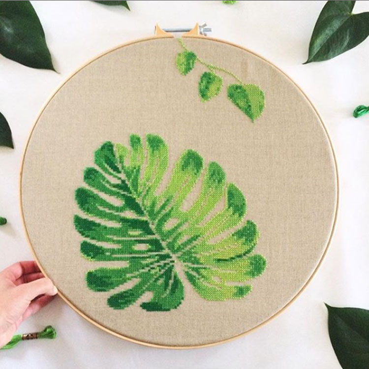 Monstera Cross Stitch Kit