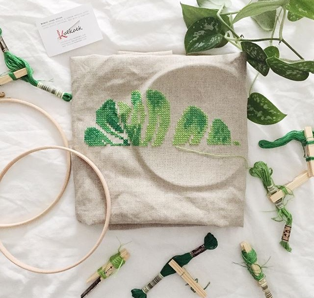 monstera leaf cross stitch kit wip