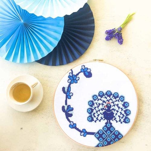 large peacock cross stitch kit for beginners with evenweave linen and dmc floss