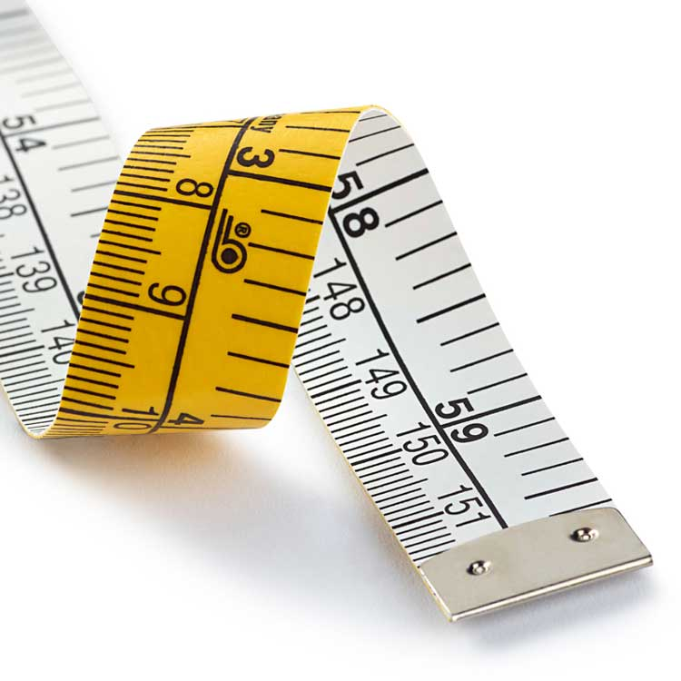 Measuring tape with inch and cm
