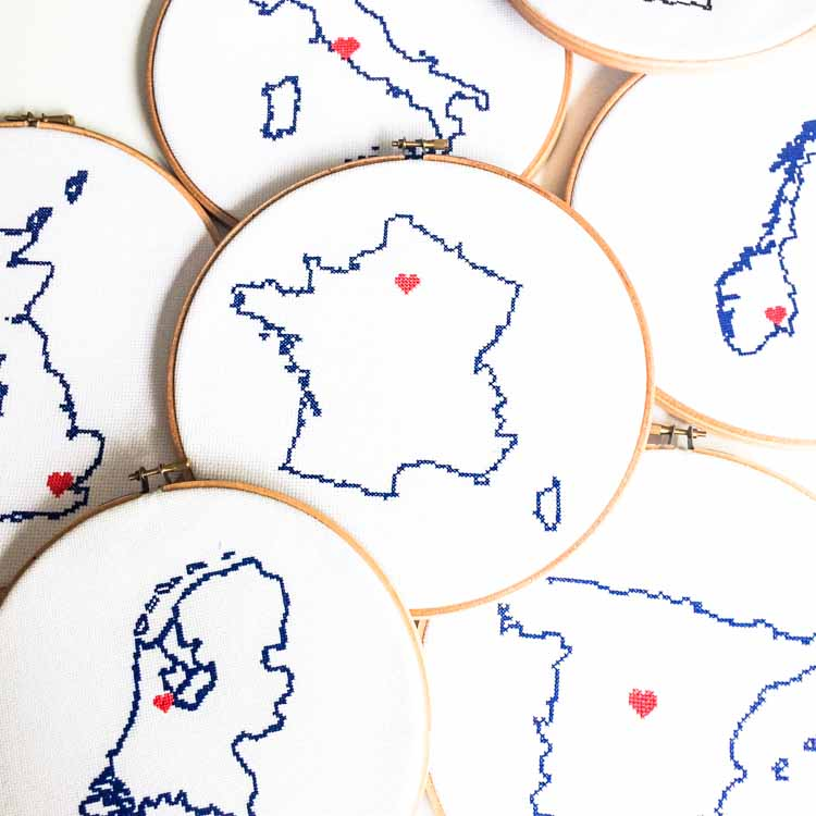 Stitch a map cross stitch kit