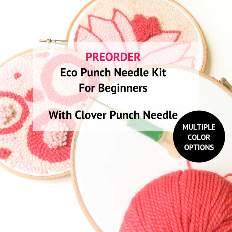 Large ecological punch needle kit with clover punch needle