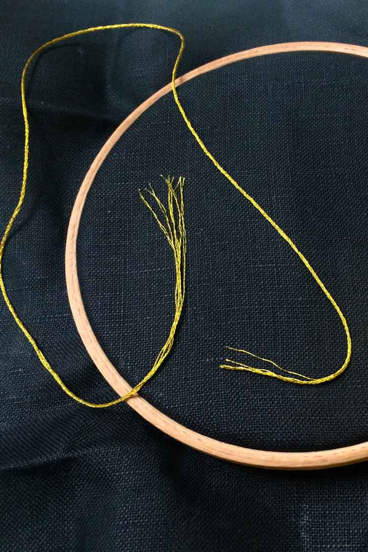 Use short pieces of embroidery floss