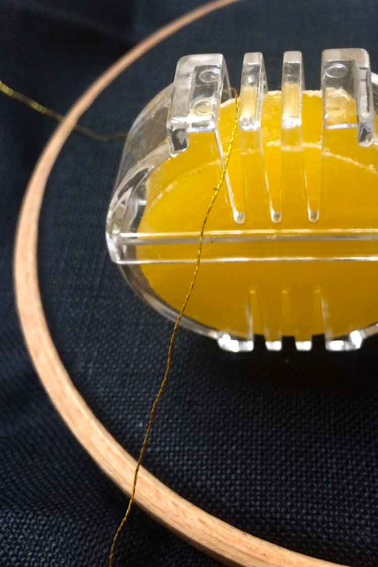how to apply wax to your embroidery floss