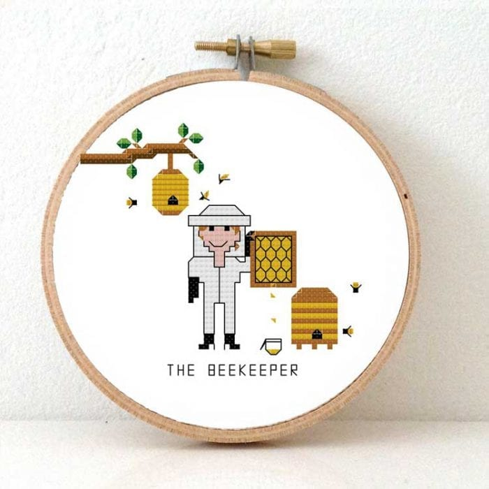 beekeeper cross stitch pattern female beekeeper gift ideas