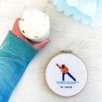 14155 skater cross stitch pattern skating fan