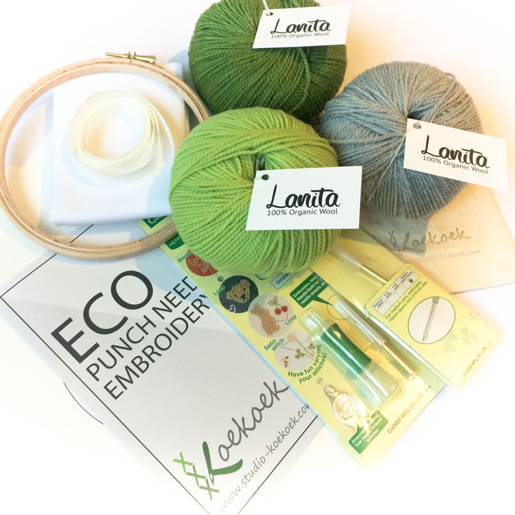 Green silver punch needle kit ecological yarn and gots cotton