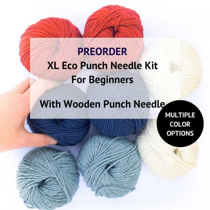 XL eco punch needle kit for beginners with gordita ecological wool