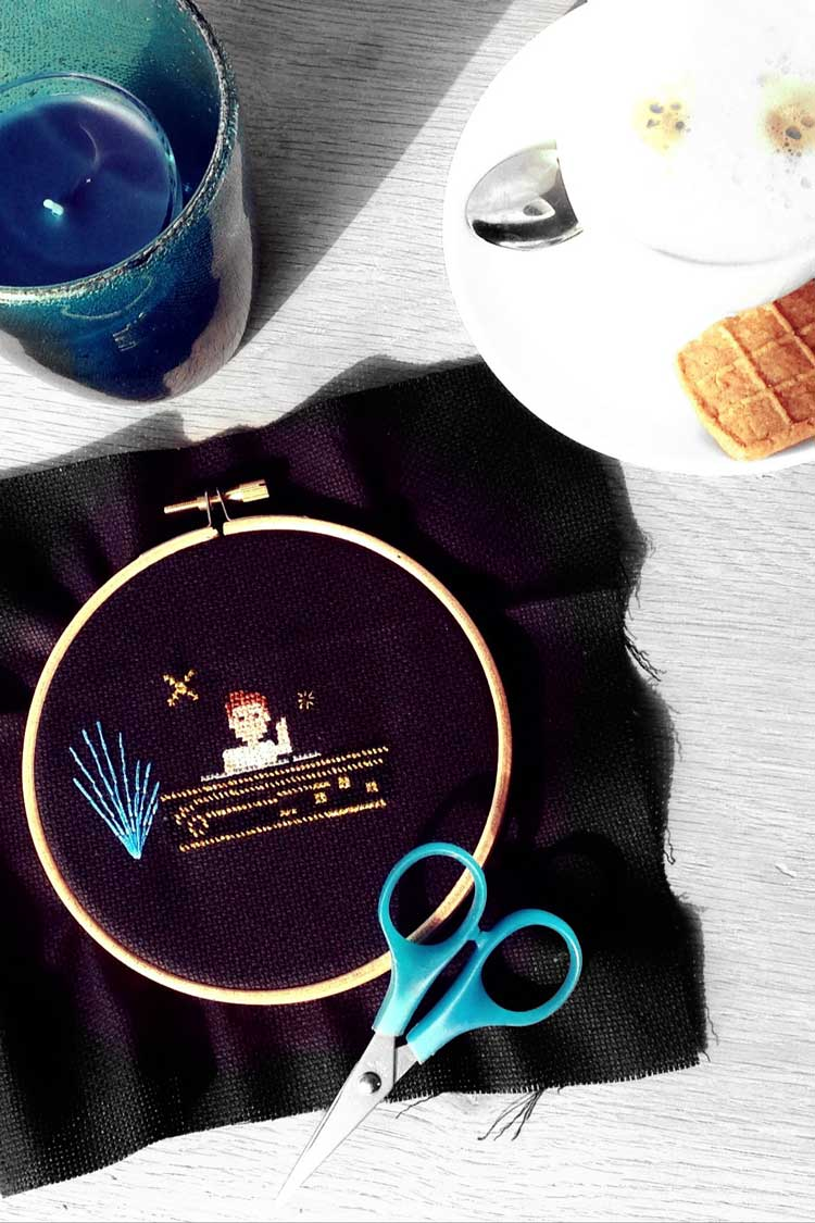 wip dj stitching on dark fabric