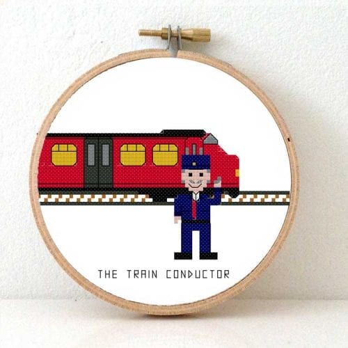 14146 train conductor cross stitch pattern male
