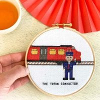 Train conductor cross stitch pattern instant download