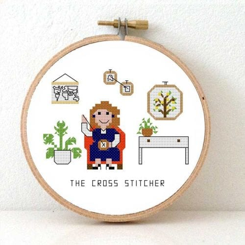 modern cross stitch kit Female cross stitcher kit