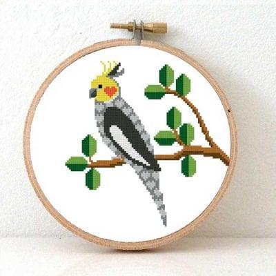 cockatiel cross stitch kit bird for beginners