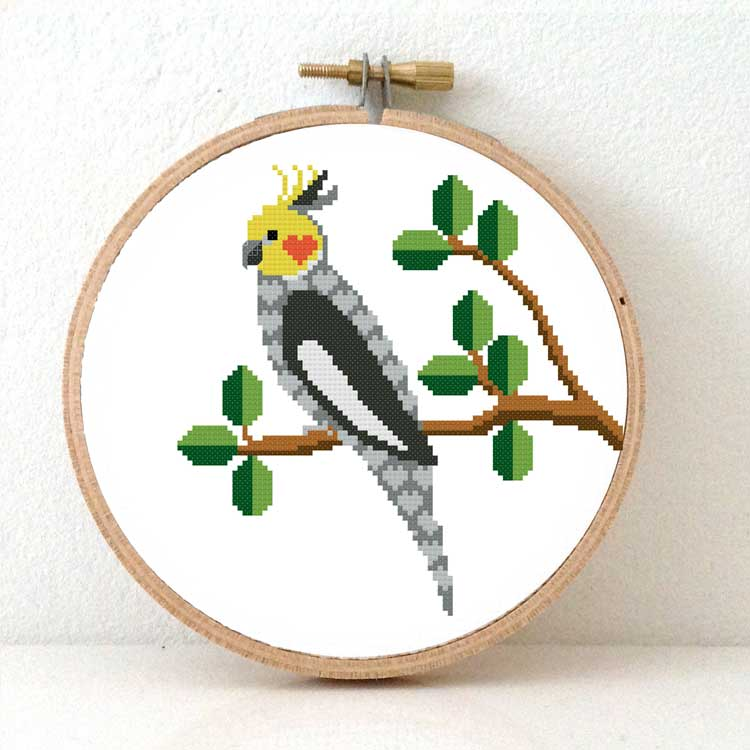 cockatiel cross stitch kit bird for beginners