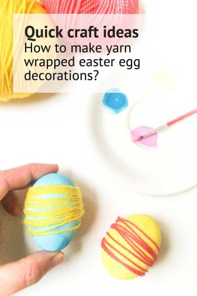 DIY eastern egg decorations tutorial yarn easter eggs