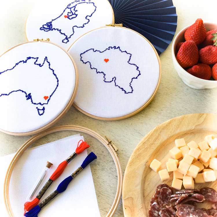 Stitch a Map cross stitch party