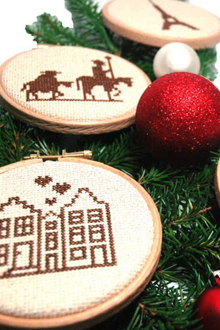 Christmas ornament travel cross stitch party