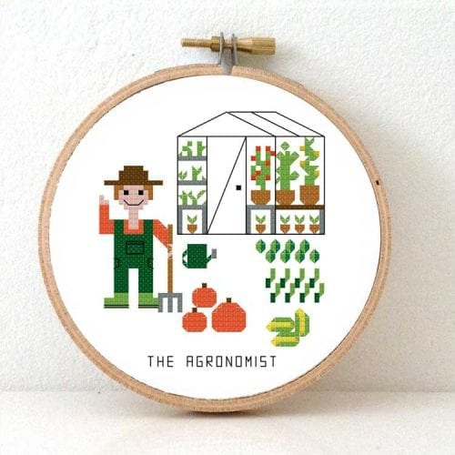Male Agronomist cross stitch kit