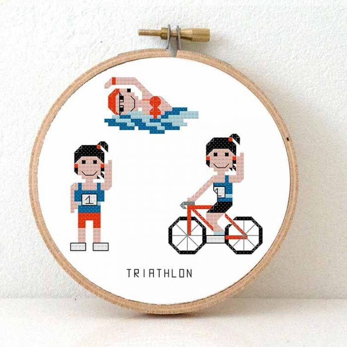 diy gift for female triathlon sporter cross stitch pattern
