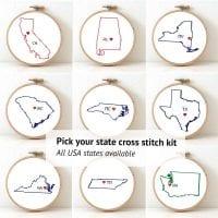 pick your usa state cross stitch kit