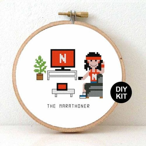 funny gift netflix marathoner cross stitch kit for beginners