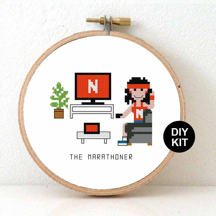 funny gift netflix marathoner cross stitch kit for beginners