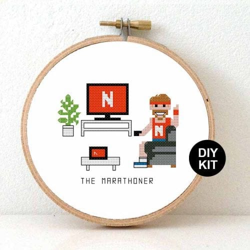 14159 cross stitch kit - netflix marathoner male cross stitch