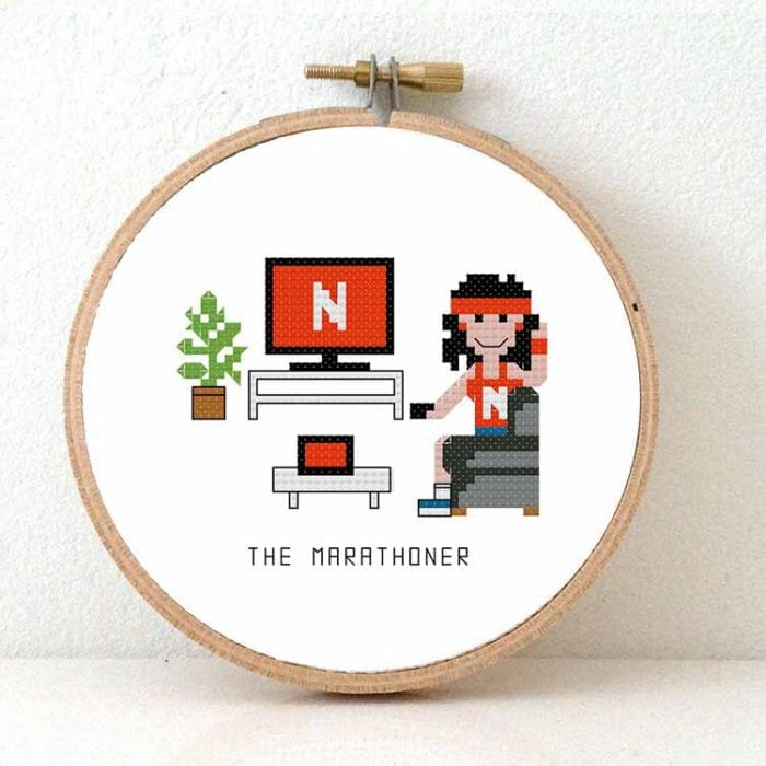 14159 - netflix marathoner female cross stitch pattern