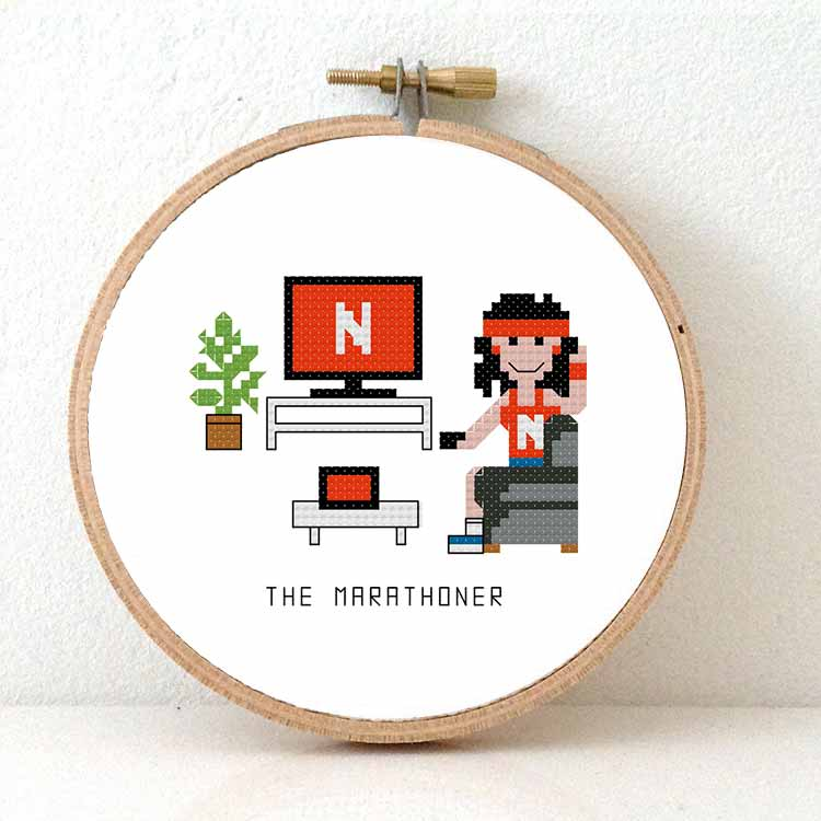 14159 - netflix marathoner female cross stitch pattern
