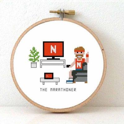 14159 - netflix marathoner cross stitch pattern