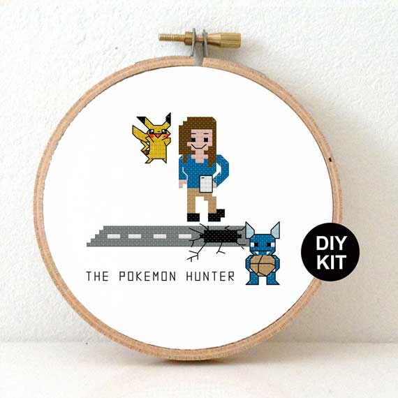 Female pokemon hunter cross stitch kit