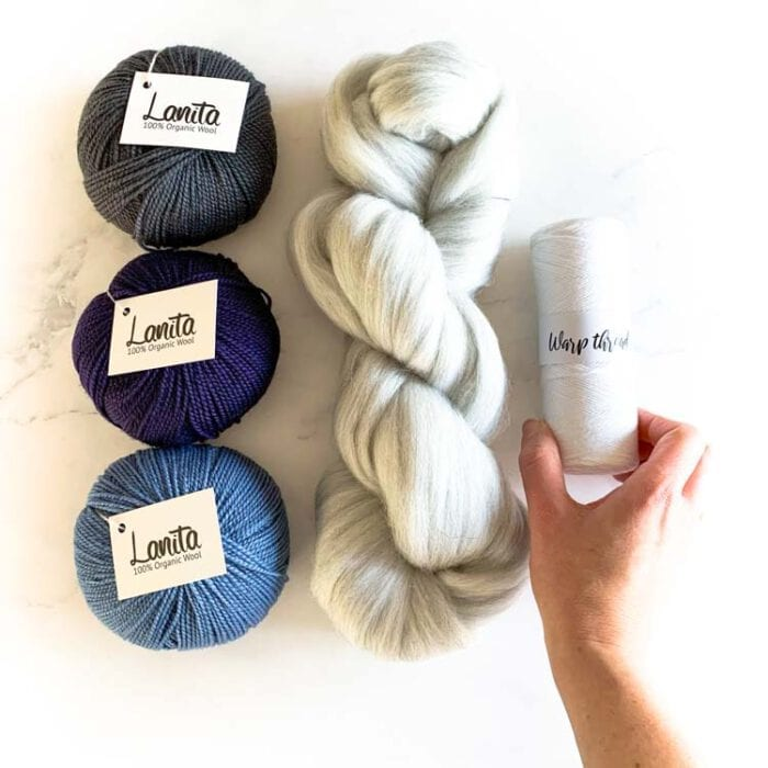 Blue berry gray weaving yarn pack ecological