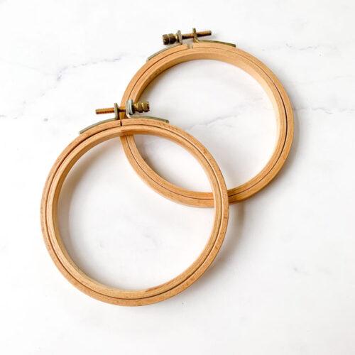 SALE vintage wooden hoops 4 inch