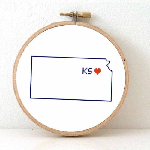 Stitchamap - Kansas cross stitch pattern for beginners